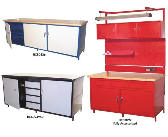 """CABINET STYLE WORKBENCHES WITH 1-1/4"""" PLASTIC TM TOP"""
